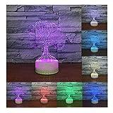 Erwa 3D Illusion Lampe Baum LED Nachtlicht 3D Lampe 7 Farben Wunsch Baum Form 3D LED Tisch Schreibtischlampe Kinder Nachttisch Lampe 7 Farben Dekorative Beleuchtung Geschenk Für Mädchen, Junge,Touch