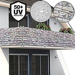 Deuba® Windschutz 5m | UV-Schutz 50+ | wasserabweisend | Sichtschutz Balkonbespannung Balkonsichtschutz | einfache Montage | waschbar | 500cm x 90 cm Steinoptik