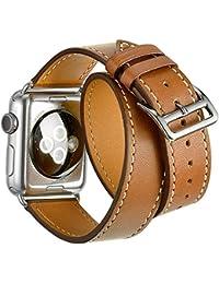 Apple Watch Correa,Sanday Double Tour Correa de cuero de la mejor calidad,Se aplica a Apple Watch Series 3/Series 2/Series 1 42mm Marrón
