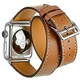 Apple Watch Leather Armband 42mm,Sanday Doppel Premium Echtes Leder Vintage Band Strap Edelstahlschließe für Apple Watch 42mm Series 3 /2 /1 Braun