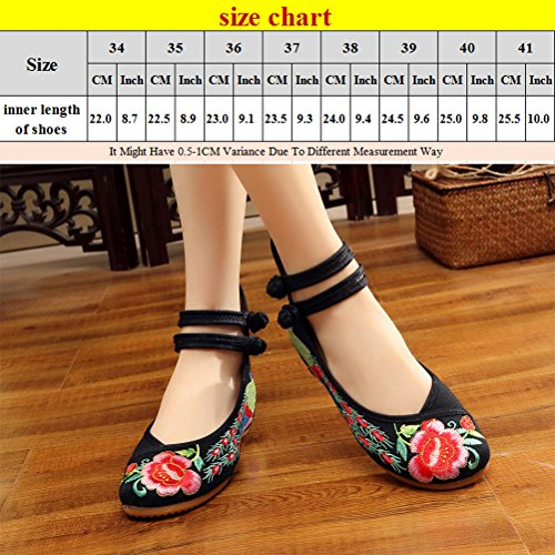 Zhuhaitf Haute qualité Chinese Style Breathable Casual Shoes Womens Chic Embroidered Shoes Black