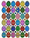 Ostereier Ei Eier Ostern Aufkleber 36-teilig 1 Blatt 135 mm x 100 mm Sticker Basteln Kinder Party Metallic-Look