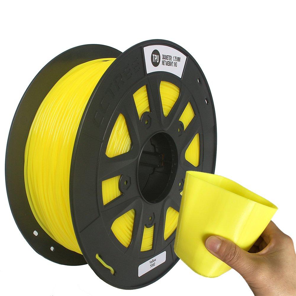 CCTREE 3D Printer TPU Flexible Filament 1.75MM For Creality CR-10S,1kg Spool (2.2lbs) Yellow