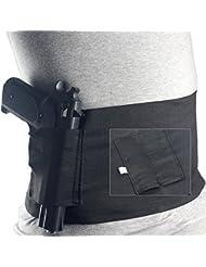 Ceinture/bandeau avec étui de transport de revolver et 2pochettes de chargeur pour tours de taille de 76,2 à 96,5cm pour Glock 23sig226
