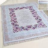 mynes Home Teppich Waschbar Türkis Shabby Chic Stil Rosen Muster Bordüre rutschemmend Modern Designer für Bad und Küche Läufer Waschmaschinengeeignet (80 x 150 cm)