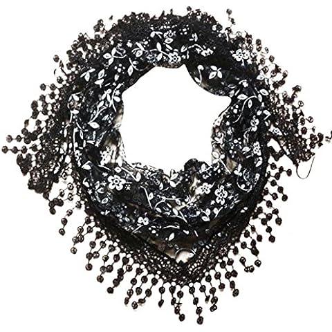 ZARU Encaje de la bufanda del Mantón de la borla de las de la señora es estolas y fulares Bufandascarpada de la quemadura de la impresión floral Triángulo Mantilla (Gray)