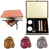 Yuccer Sceau Cire, Cire a Cacheter Kit Cachet de Cire Tampon Cire Lettre Rétro Seal Wax Kit Kit pour Cachets en Cire Gift Box