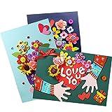 3Arten von 3D Creative Geburtstag Karten DIY handgefertigt Thank Karten Love Karten Creative Grußkarten (zufällige Stil)