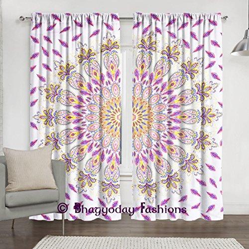 Plume Mandala Rideaux, bohème Vitrage de porte avec housse de hippie indien Décoration murale à suspendre, chambre Rideau Diviseur Couvre-lit 213,4x 203,2cm