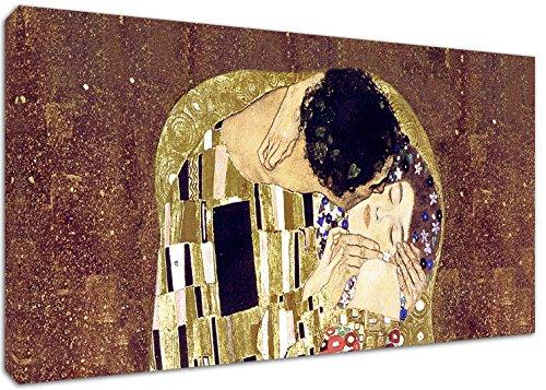 Punto Digital Klimt Il Bacio Dettaglio Quadro Intelaiato cm.120x60 Stampa su Tela, Telaio in Legno Spessore cm.2