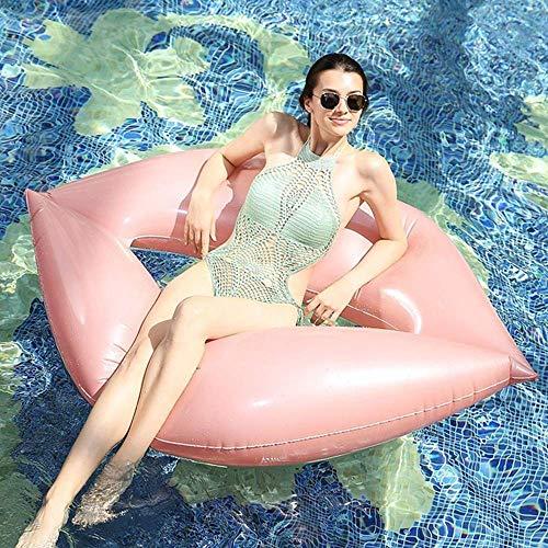 Swim Party Toys Schlauchboot Sommer Meer Strand Einhorn Aufblasbare Lippen Schwimmende Reihe Rosa Erwachsenen Wasser Treiben Bett Lounge Stuhl Gepolsterte Sofa Schwimmende Spielzeug 160X120Cm, Golde