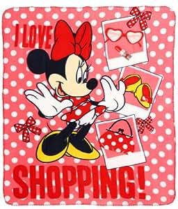couverture plaid polaire enfant fille minnie 39 i love shopping 39 rouge 120x140cm. Black Bedroom Furniture Sets. Home Design Ideas