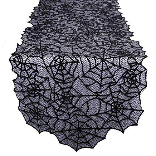 AerWo Runner Da Tavola Ragnatela Di Pizzo Nero Halloween Decorazione Della Tavola 20inX80in Halloween Party Tovaglia