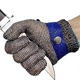 OKAWADACH Guantes Anticorte Seguridad Corte prueba puñalada resistente acero inoxidable de malla metálica carnicero guante de color azul talla M nivel 5 (M)