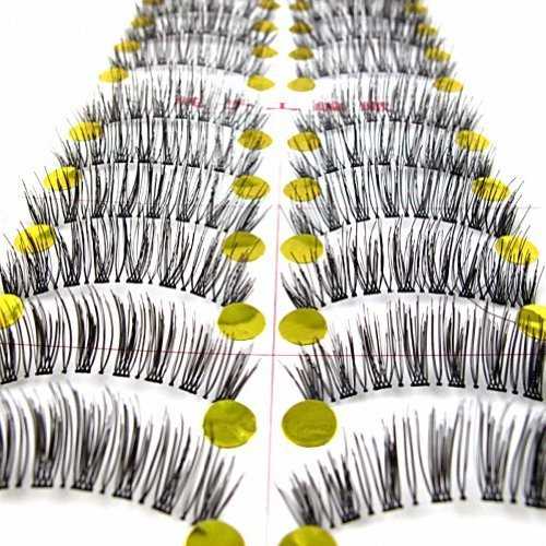 MapofBeauty 10 Pairs Transparent Stems Thick Makeup Eye Lashes False Eyelashes (Noir)