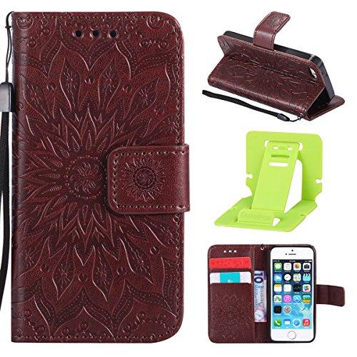 Per Custodia iphone 6 plus, Ekakashop Cover in PU Pelle - Progettato per iphone 6S plus Ragazza Ragazzo Vintage Moda Colorate Sunflower Girasole Rilievo Pattern Disegno Materiale PU Leather Magnetico  Marrone