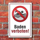 Schild Baden verboten, Piktogramm, 3 mm Alu-Verbund 300 x 200 mm