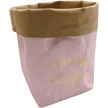 ef3c192561ce zycShang Rangement Sac de Rangement, Sac de papier kraft lavable fleurs  plantes Pots multifonction sac de réutilisation de stockage à domicile (S,  Rose)