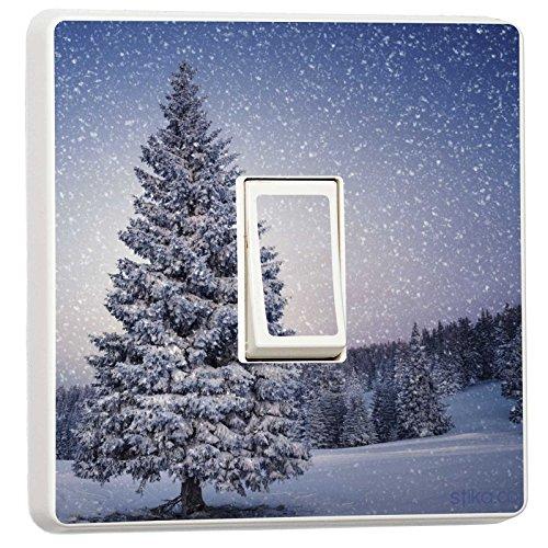 Weihnachten Deko–Single Lichtschalter Vinyl Aufkleber–Winter Weihnachts Feiertage Winter Tree (Single Lichtschalter)