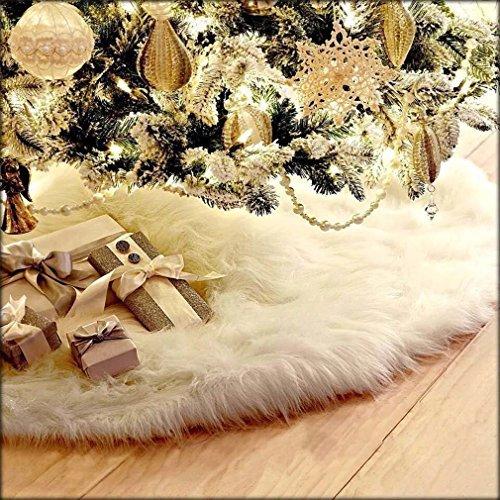 Alfombrilla Arpoador de felpa para el árbol de Navidad, de color blanco, de 78cm