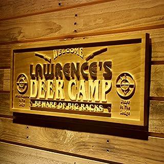 AdvPro Wood Custom wpa0080 Name Personalized Deer Camp Man Cave Lake House Hunting Gun 3D Engraved Wooden Sign - Standard 58.5 cm x 23.4 cm