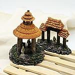 Dimart 6 Pcs Resin High Simulation Chinese Ancient Bungalows Huts Aquarium Ornaments for Fish Tank Khaki 14