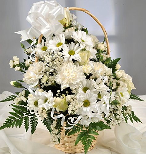 White fresh flower gift basket with handwritten card flowers white fresh flower gift basket with handwritten card flowers delivered next day uk free in mightylinksfo
