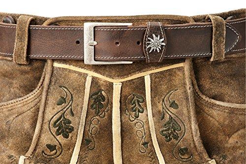 Trachtenkönig Trachtengürtel Original Herren zur Lederhose mit Edelweiss (85 cm, Dunkelbraun (Vollrindleder))_TK01_01_85 - 6