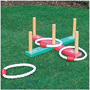 GARDEN/OUTDOOR ROPE QUOITS & WOODEN PEGS THROWING GAME