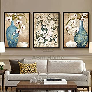 ABm Wall Poster, Fine Wall Art, Large Framed Canvas, Vintage Style, Wall Picture Set 3 pieces