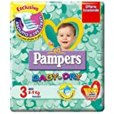 120 Pannolini Bambino Taglia 3 Pampers Baby Dry Pannolino Misura Midi BabyDry