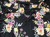 Floral Print Stretch Jersey Knit Dress Fabric Black - per metre