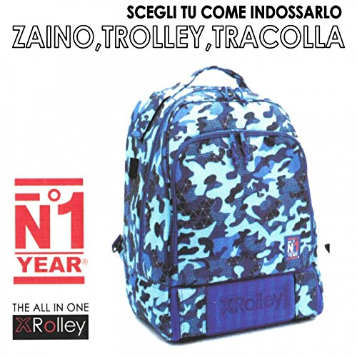 Zaino XROLLEY 3 in 1 trolley zaino e tracolla con multitasche mimetica blu