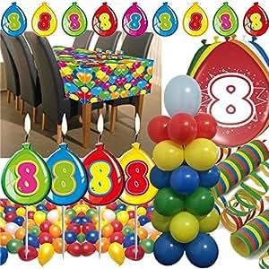 63-teiliges Deko-Set für den * 8. GEBURTSTAG * // mit Tischdecke, Wimpelkette, Geburtstagskerzen, Luftballons, Ballon-Haltern und Luftschlangen // Dekoration Kinder Kindergeburtstag achter bunt Kerzen