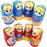 Sharesweet Set Of 5 Pcs Dolls Wooden Russian Nesting Babushka Matryoshka Hand Painted Gift