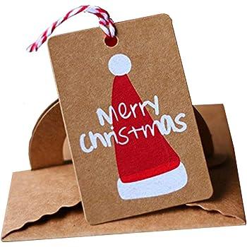 Rzctukltd 50Pcs Christmas Kraft Paper Gift Tags Scallop Label Luggage Blank + 10m Jute (Christmas Hat)