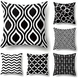 JOTOM Taie d'oreiller géométrique Super Doux pour canapé-lit Canapé Coussin Housse de Coussin Maison décoratif 45X45cm,Set de 6 (Motif Noir et Blanc)
