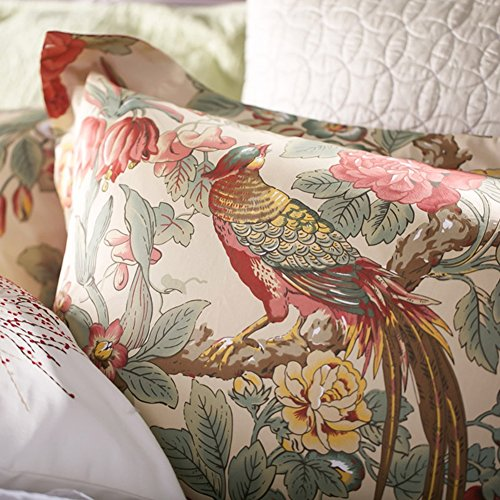 Antik-braun Cherry (Chinoiserie Chic Pfau floral Bettbezug PARADISE Garden Botanical Vogel und Baum Zweige Vintage stilisierten langstapelige Baumwolle Bettwäsche Set, baumwolle, Herbstrot, King Size)