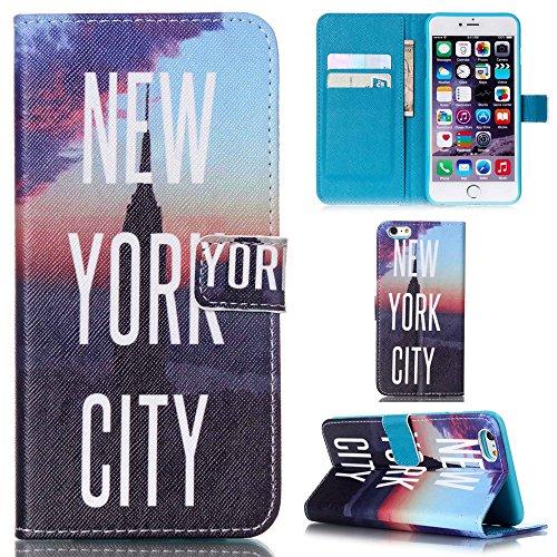 Ooboom® iPhone 5SE Hülle Flip PU Leder Schutzhülle Handy Tasche Case Cover Wallet Standfunktion mit Kartenfächer - Mini Elefant New York