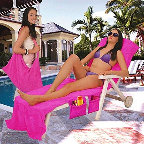 Himozoo Strandtuch, Mikrofaser, für den Pool, Liegetuch mit Taschen, Urlaub, Sonnenbad hot pink