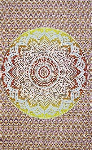 Healing Crystals India Tenture, couvre-lit, décoration murale à suspendre en coton - Motif mandala - Style hippy,