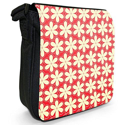 Fancy A Snuggle, Borsa a tracolla donna 6-blättrige Blumen Rot & Creme