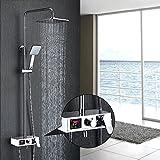 Homelody 3-Funktion Duscharmatur Duschsystem mit LCD Wassertemperatur Display Duschset mit Rainshower Regendusche Handbrause und Duschstange für Dusche