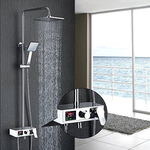Homelody - Duschsystem mit LCD-Anzeige für Wassertemperatur und Zeit, Chrom
