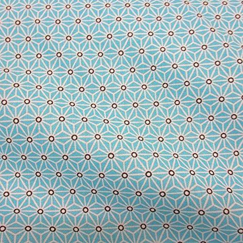 De tela de algodón de colour turquesa Aqua de colour blanco de Japón Asanoha por metro adecuada