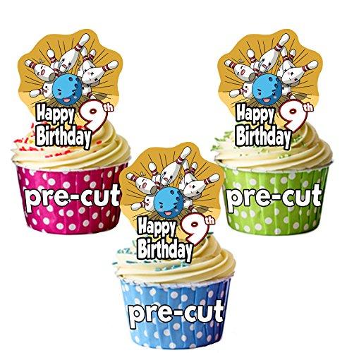 Vorgeschnittene Cupcake-Topper/Kuchendekoration, zum 9. Geburtstag, 12 Stück