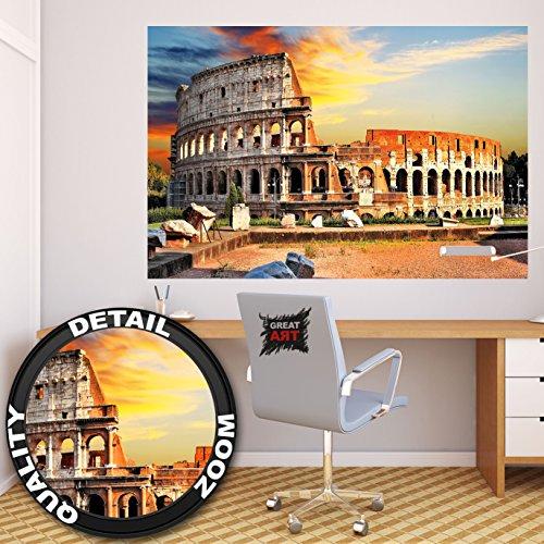 GREAT ART Kolosseum in Rom Wanddekoration - Wandbild Italien Motiv XXL Poster (140 x 100 cm)