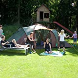 Skandika Daytona Family Camping Tent with 3 Sleeping Rooms and Sun Canopy Porch, Green/Brown, 6 Persons/2X-Large