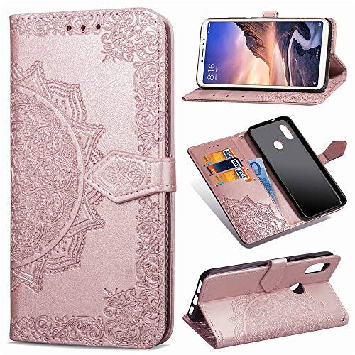 Abuenora Funda para Xiaomi Mi MAX 3, Carcasa Libro con Tapa Flip Case Antigolpes Golpes Cartera PU Cuero Suave Soporte con Correa Cordel - Mandala Oro Rosa