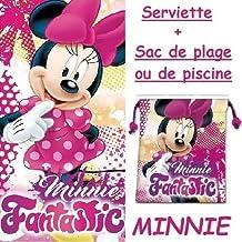 Toalla de playa bain- Minnie Disney + 1bolsa de playa o bolsa de deporte 22cm Violetta–2017